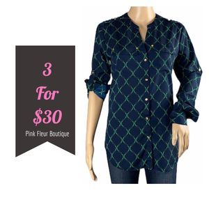 CHARTER CLUB Blue Button Down Small